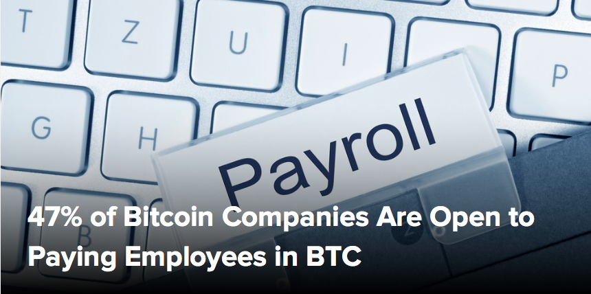 (CoinDesk) 47% of Bitcoin Companies Are Open to Paying Employees in BTC