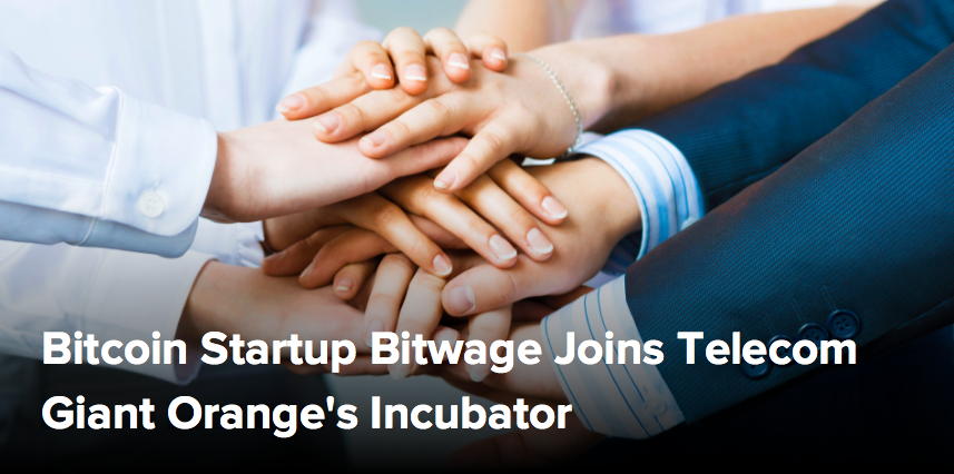 (CoinDesk) Bitcoin Startup Bitwage Joins Telecom Giant Orange's Incubator
