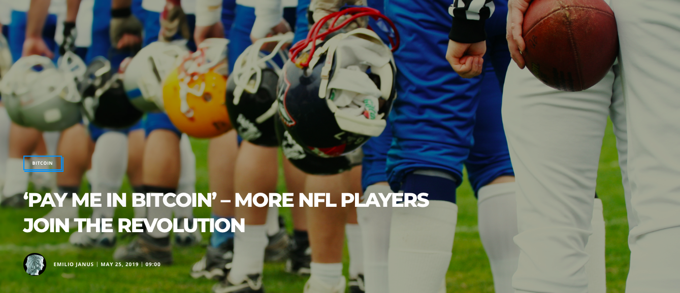 (Bitcoinist) 'PAY ME IN BITCOIN' – MORE NFL PLAYERS JOIN THE REVOLUTION