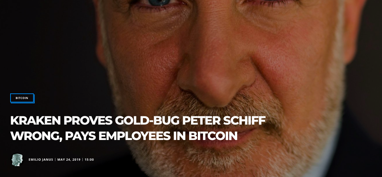 (Bitcoinist) KRAKEN PROVES GOLD-BUG PETER SCHIFF WRONG, PAYS EMPLOYEES IN BITCOIN